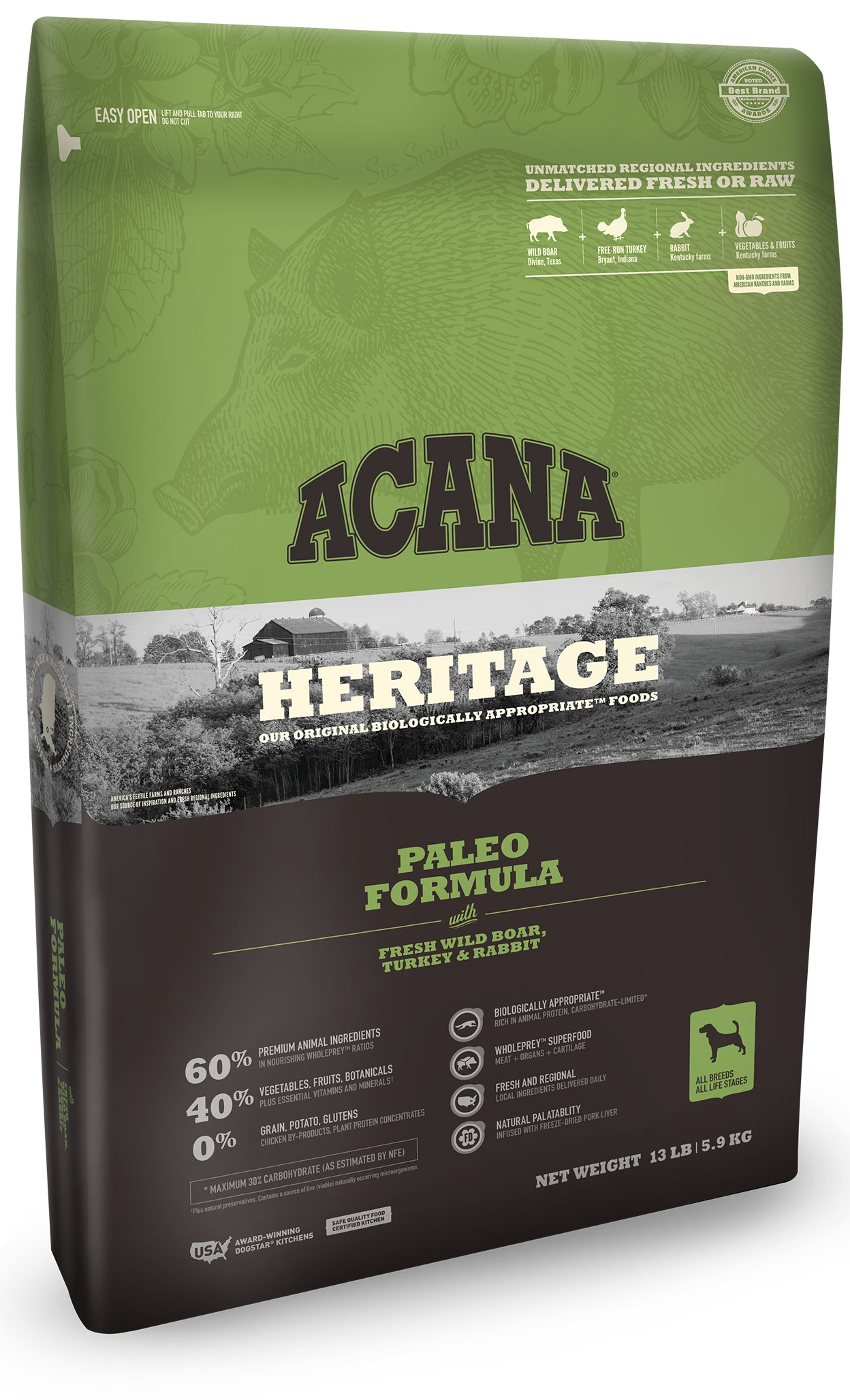 For Food Sensitivities Try Acana Heritage Paleo Dry Dog Food
