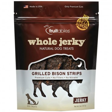 Fruitables Whole Jerky Grilled Bison Strips Natural Dog Treats