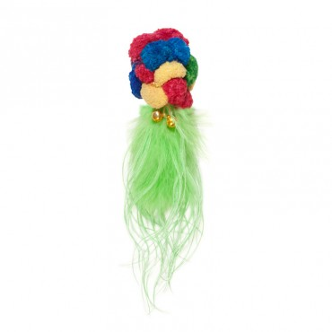 Chomper Kylie's Pom Pom Ball with Feather Boa Tail Cat Toy