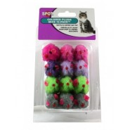 Spot Colored Plush Mice with Catnip Cat Toy, 12 Pack