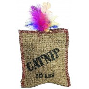 Spot Jute and Feather Sack Cat Toy