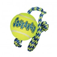 Kong AirDog Squeakair Tennis Ball with Rope Dog Toy, MEDIUM