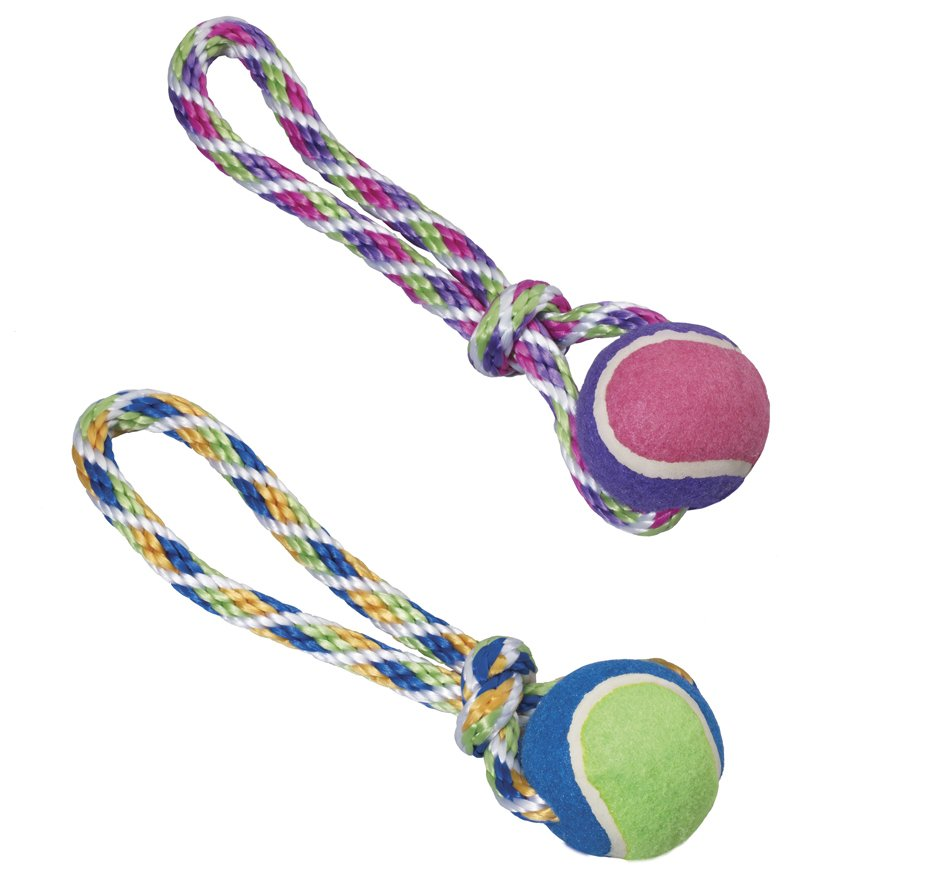 Spot Rainbow Twister Tennis Ball Tug With Rope Dog Toy Summer S Paw