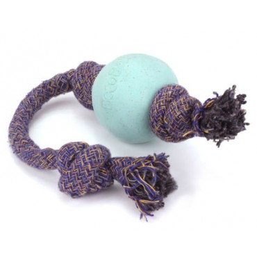 Beco Pets Eco-Friendly Ball On Rope Dog Toy, BLUE
