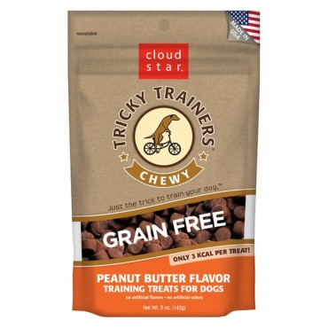 Cloud Star Chewy Tricky Trainers Grain Free Peanut Butter Flavor Dog Treats, 5 oz