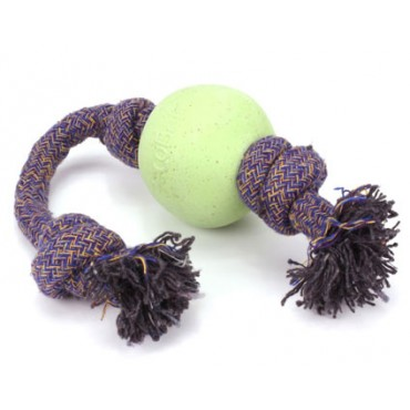 Beco Pets Eco-Friendly Ball On Rope Dog Toy, GREEN