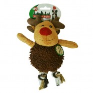 Spot Holiday Giggler Plush Dog Toy, Reindeer