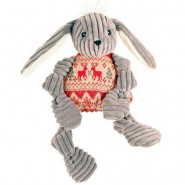 Hugglehounds Knotties Plush Holiday Rabbit with A Sweater Dog Toy