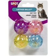 SPOT Lattice Balls with Bell Cat Toy, 4 pack