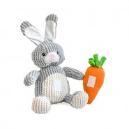 Patchwork Pet Rabbit with Carrot Dog Toy, 15 inch