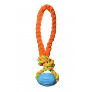 Chomper Tail Waggers Football Rope Tug Dog Toy